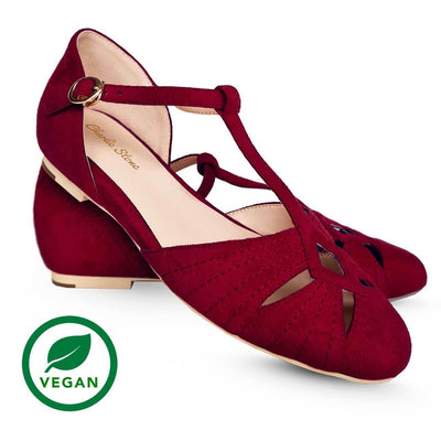 Charlie Stone Shoes London Flats - Wine Red (Vegan) pair