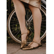 Charlie Stone Shoes Montpellier Flats - Metallic Bronze - model shot