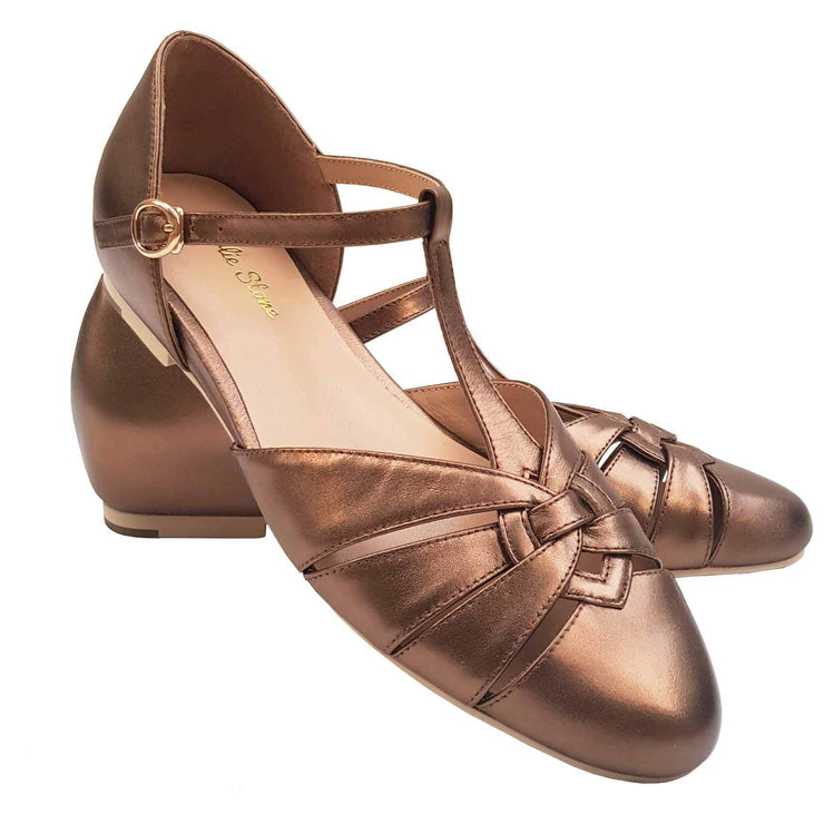 Charlie Stone Shoes Montpellier Flats - Metallic Bronze - pair shot