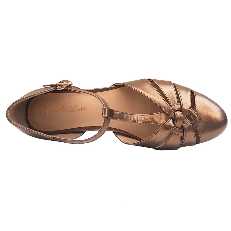 Charlie Stone Shoes Montpellier Flats - Metallic Bronze - overhead shot