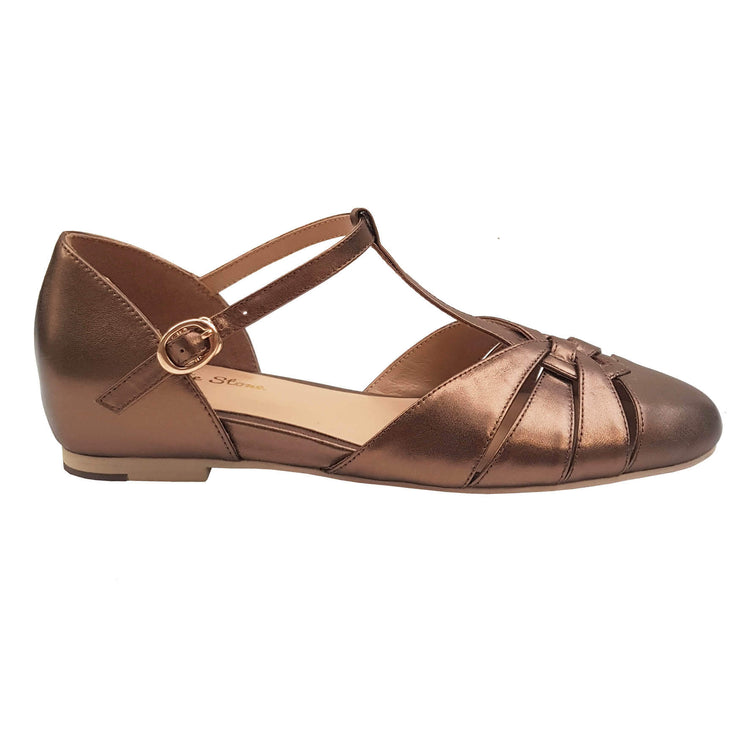 Charlie Stone Shoes Montpellier Flats - Metallic Bronze - side shot