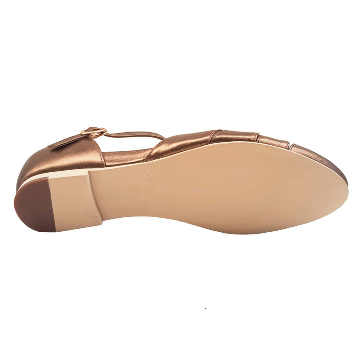 Charlie Stone Shoes Montpellier Flats - Metallic Bronze - sole view
