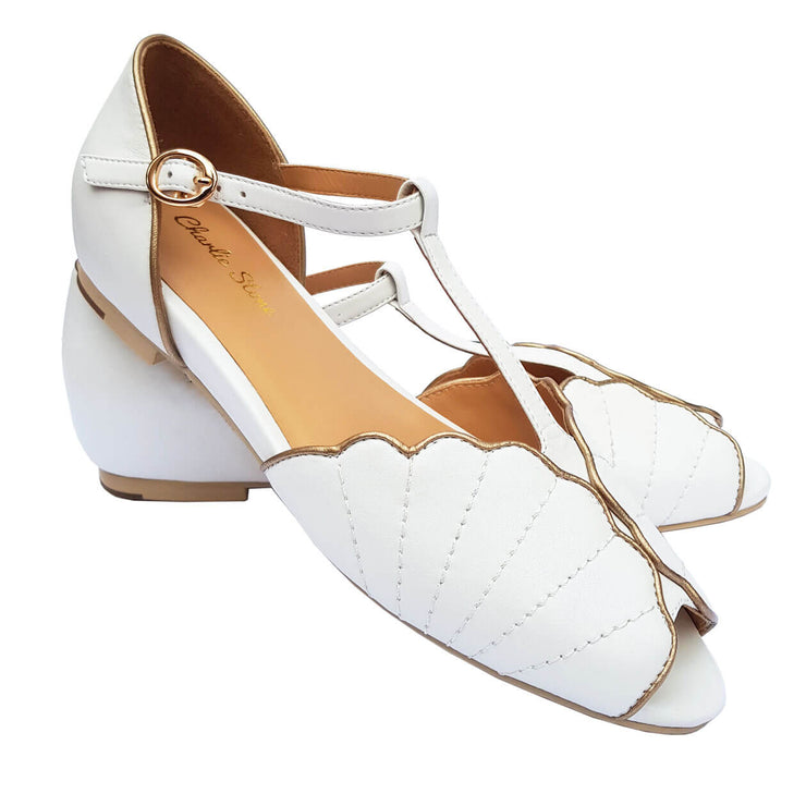 Charlie Stone Shoes Moorea Flats - Pearl - pair shot