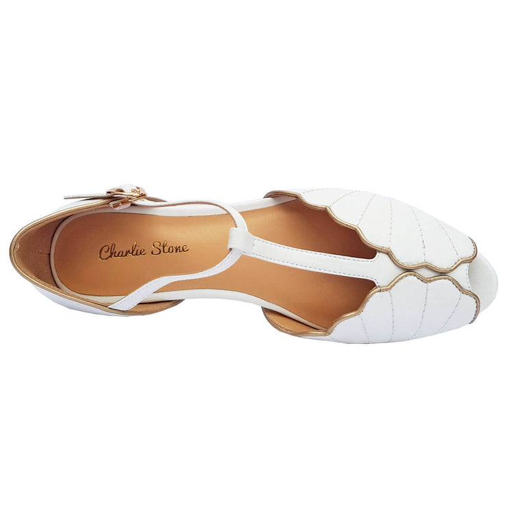Charlie Stone Shoes Moorea Flats - Pearl - top