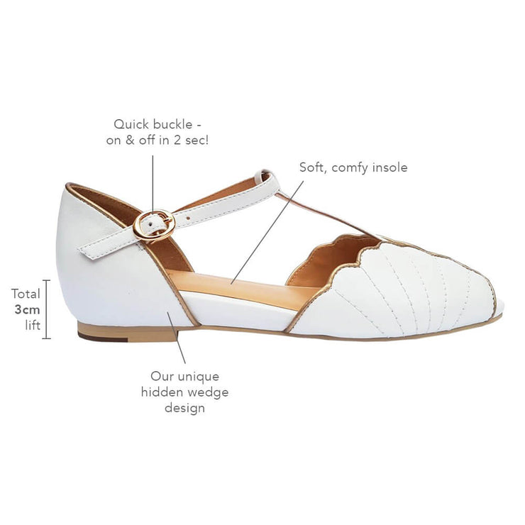 Charlie Stone Shoes Moorea Flats - Pearl - features