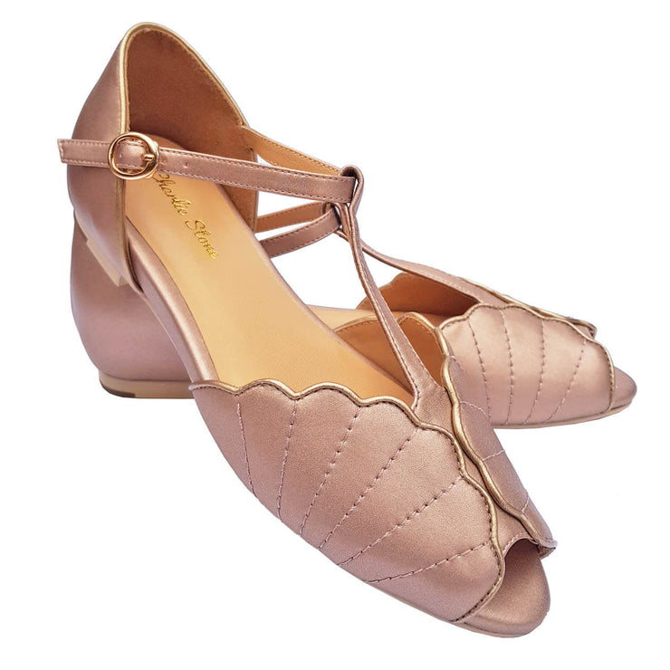 Charlie Stone Shoes Moorea Flats - Rose Gold - pair