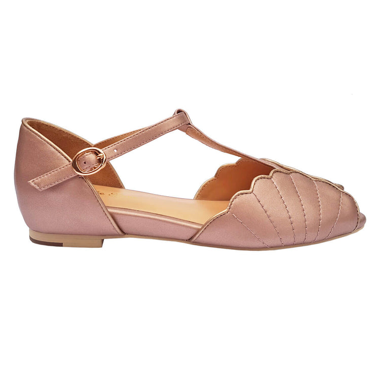 Charlie Stone Shoes Moorea Flats - Rose Gold - side