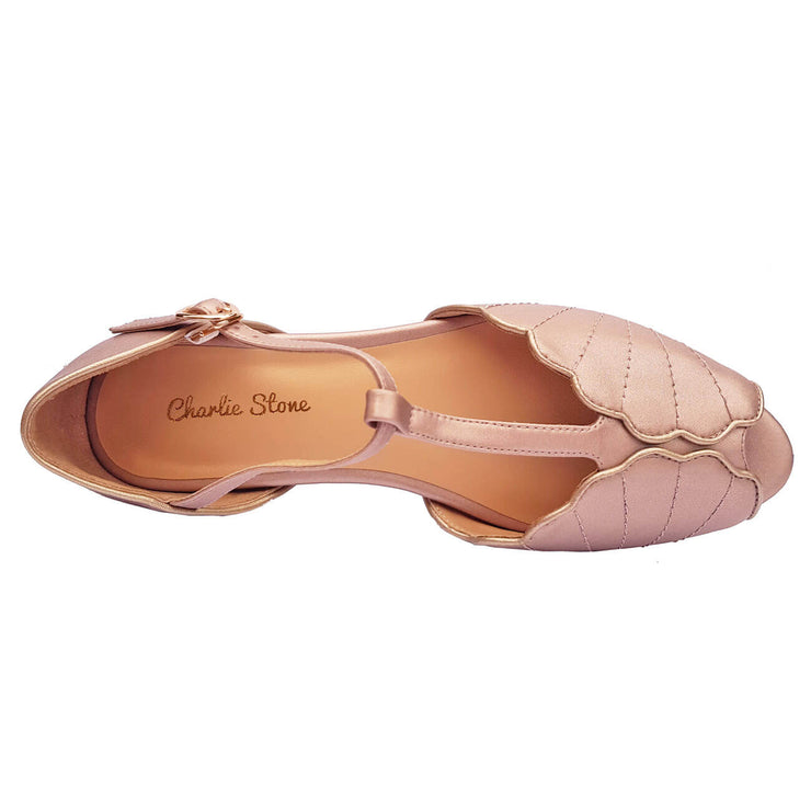 Charlie Stone Shoes Moorea Flats - Rose Gold - top