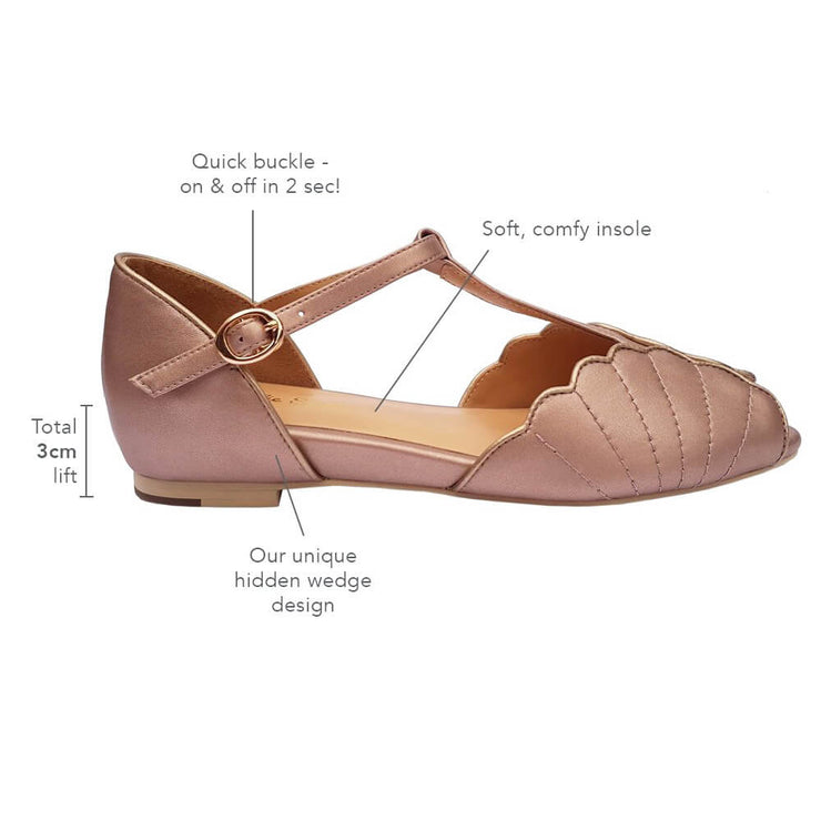 Charlie Stone Shoes Moorea Flats - Rose Gold - features