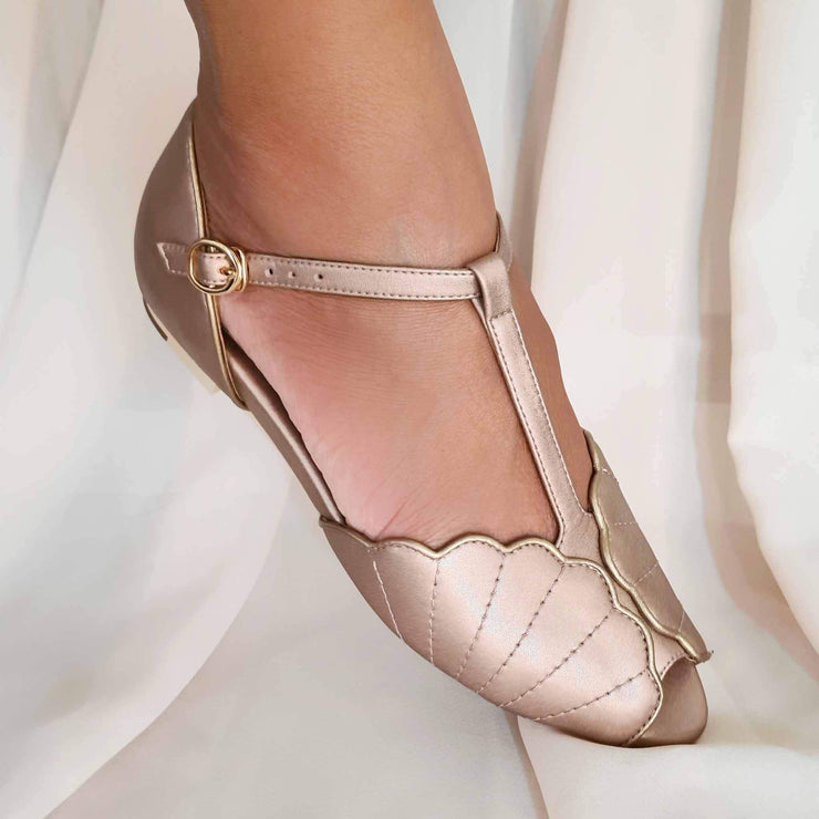 Charlie Stone Shoes Moorea Flats - Rose Gold - model