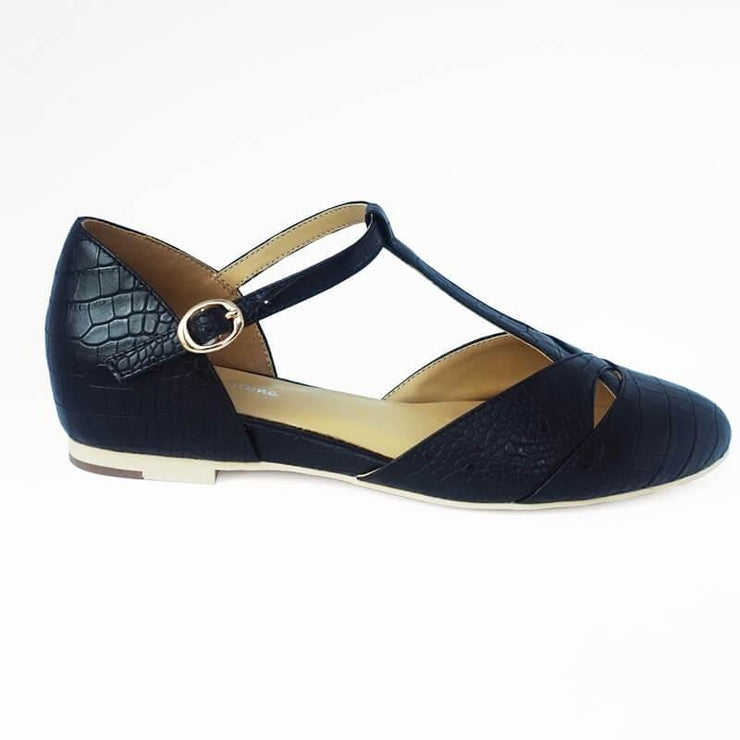 Image of Charlie Stone Roma Shoes - Black Croc (Vegan Leatherette)