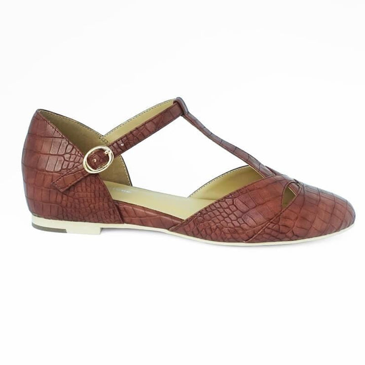 Image of Charlie Stone Roma Shoes - Mahogany Croc (Vegan Leatherette)
