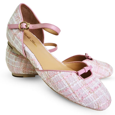 Charlie Stone Shoes Rose Flats - Blush Tweed - pair shot