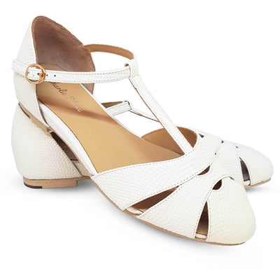Charlie Stone Shoes Sardinia Flats - White pair