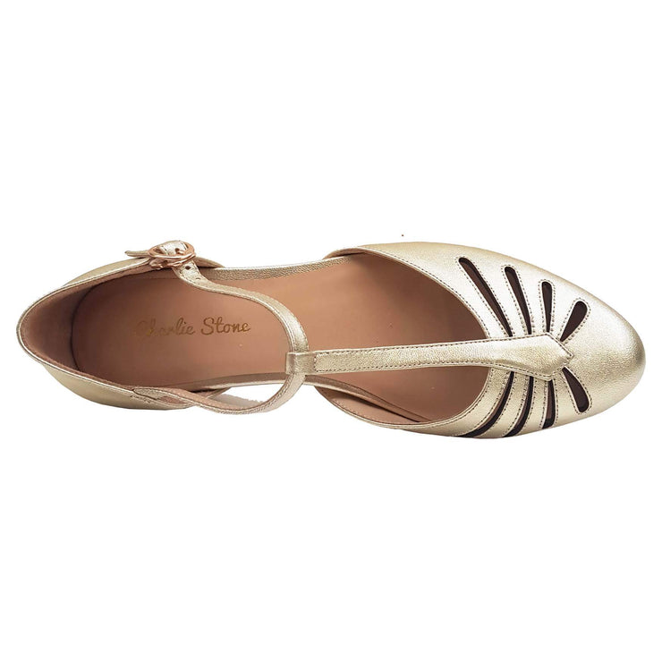 Charlie Stone Shoes Singapore Flats - Metallic Gold - overhead image