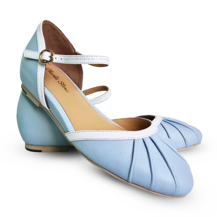 Charlie Stone Shoes Susie Flats - Baby Blue pair shot