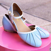 Charlie Stone Shoes Susie Flats - Baby Blue shoes on pink box