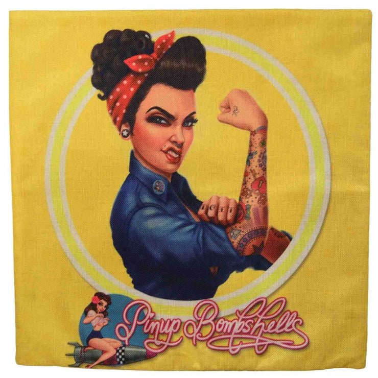 Image of Retro Cushion Cover - Rosie Riveter Tattoo Bombshell