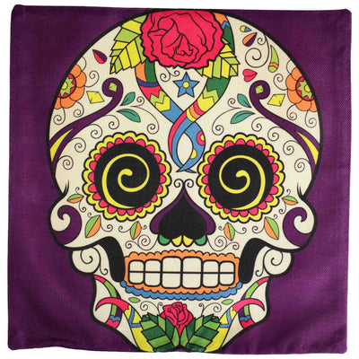 Front image Sugar Skull Cushion Cover- Purple