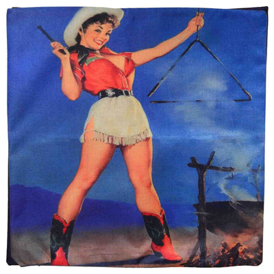 Front image Retro Cowgirl Pin Up Cushion Cover