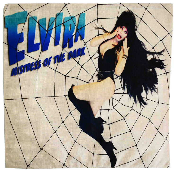 Front image Elvira Mistress Of The Dark Cushion Cover Spiderweb