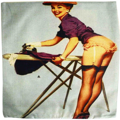 Ironing Pin Up Cushion Cover