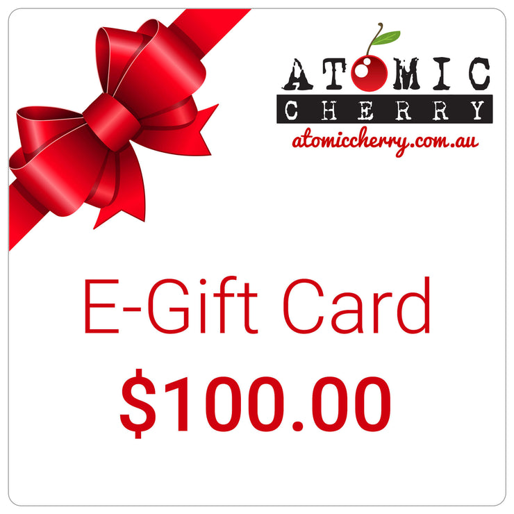 Image of e-gift card with red bow and Atomic Cherry logo - $100