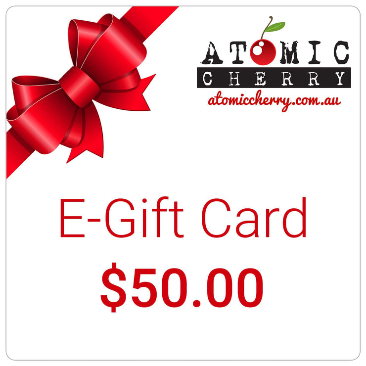 Image of e-gift card with red bow and Atomic Cherry logo - $50