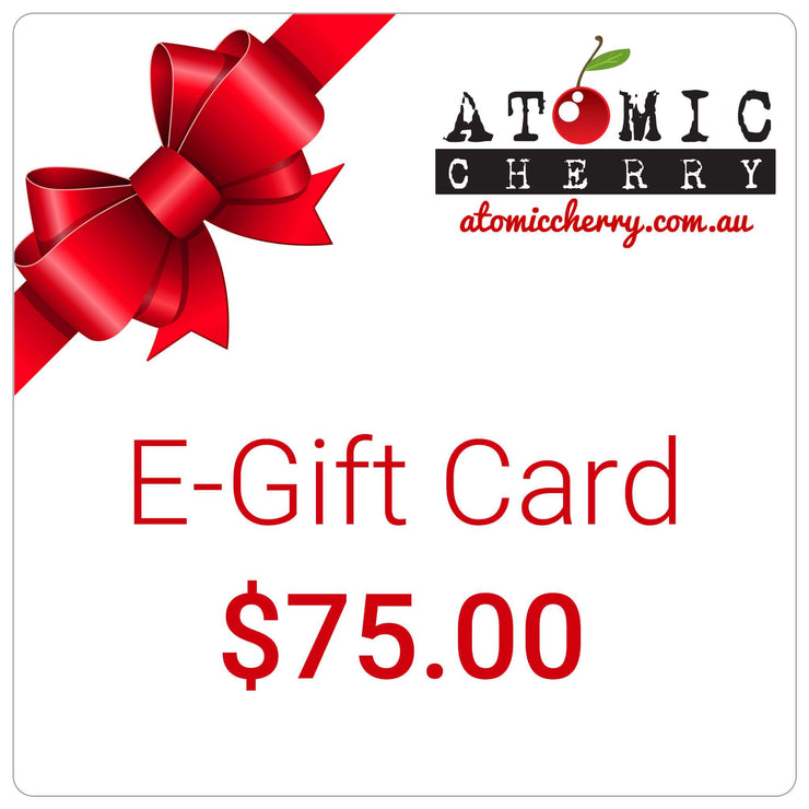 Image of e-gift card with red bow and Atomic Cherry logo - $75