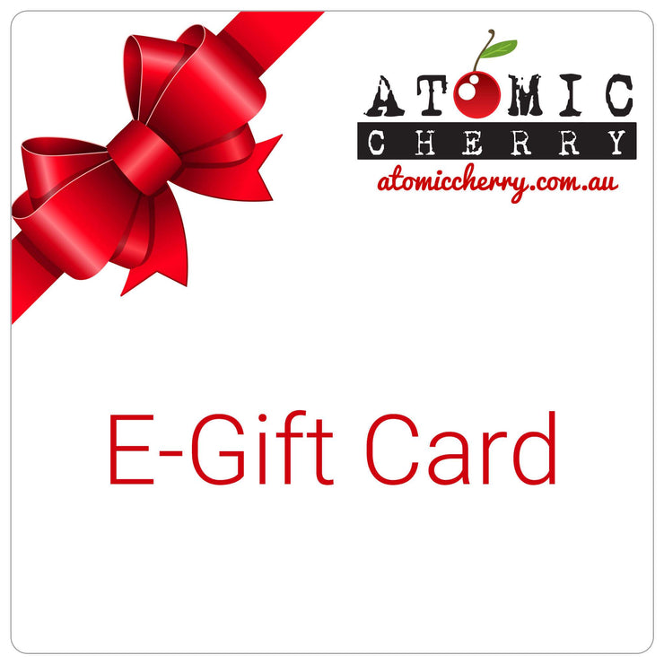 Image of e-gift card with red bow and Atomic Cherry logo