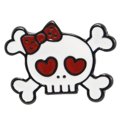 Image of Enamel Pin - Girly Skull & Crossbones
