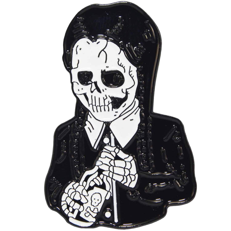Image of Enamel Pin - Skeleton Wednesday Addams