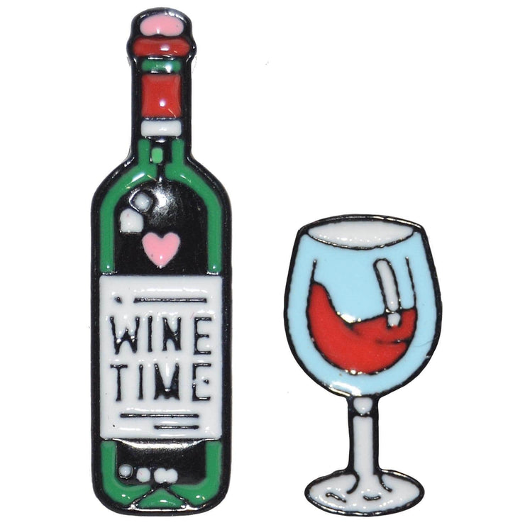 Image of Enamel Pin - Wine Time Set Of 2 Pins
