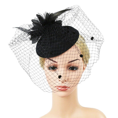 Pillbox Fascinator Hat with Birdcage Veil and Flower  on mannequin