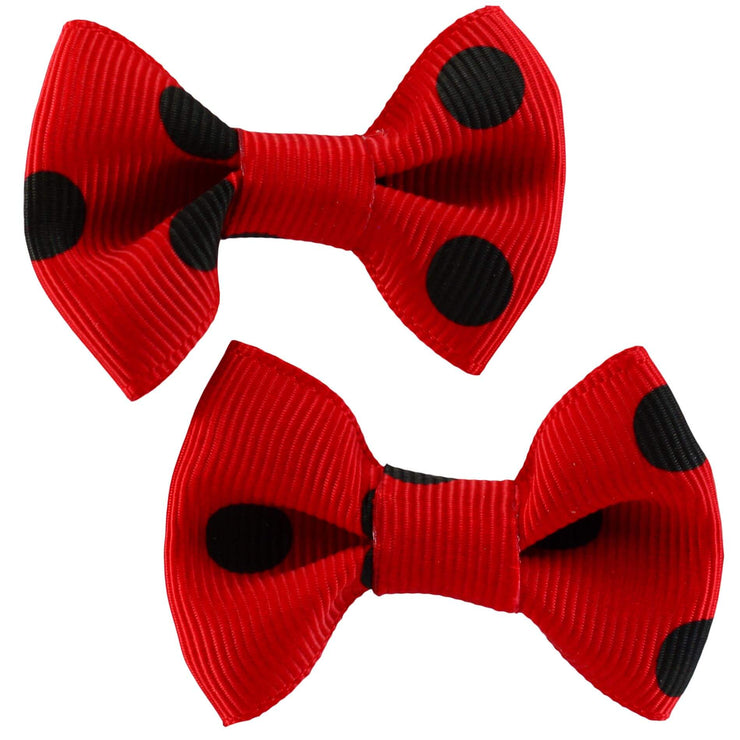 image of Polka Dot Hair Clips - Red/Black