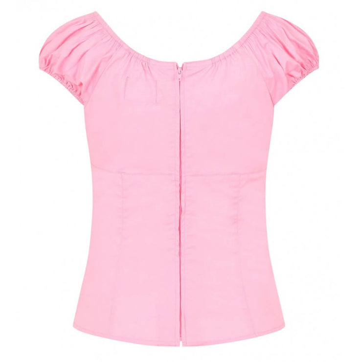 Hell Bunny 'Melissa' Top - Candy Pink on invisible mannequin - back