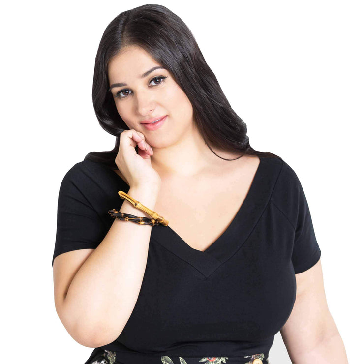 Plus size model wearing Hell Bunny Alex V-Neck Top - Black - Front
