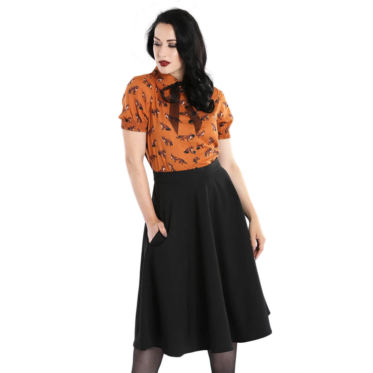 Hell Bunny Amelie 50's Skirt - Black front with Vixey top