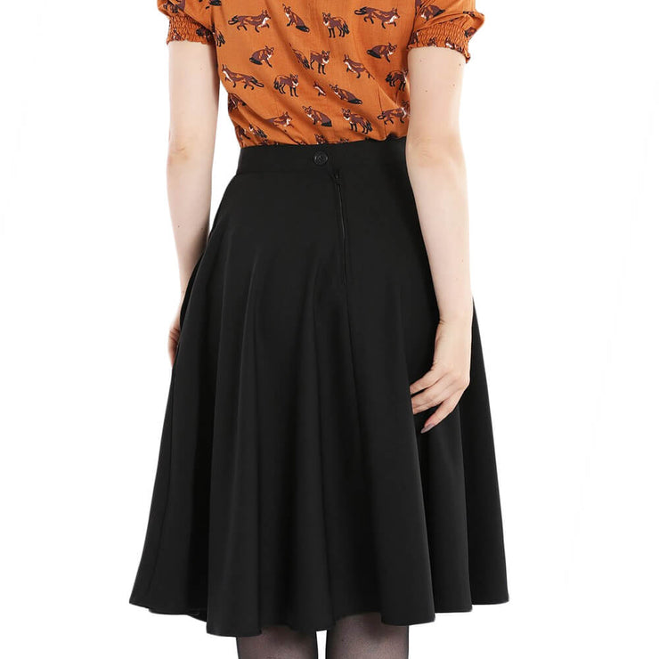 Hell Bunny Amelie 50's Skirt - Black back