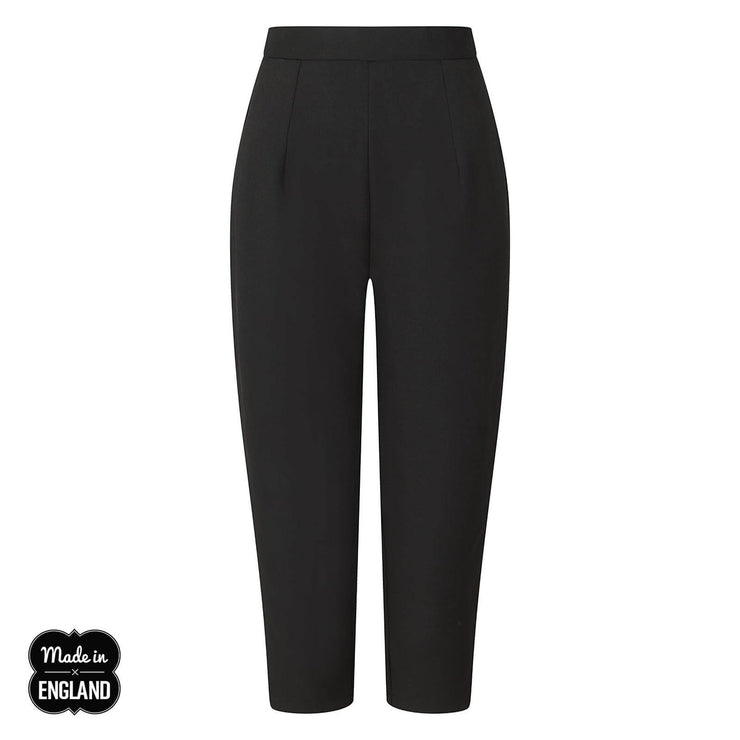 Hell Bunny Amelie Cigarette Trousers - Black on invisible mannequin - front