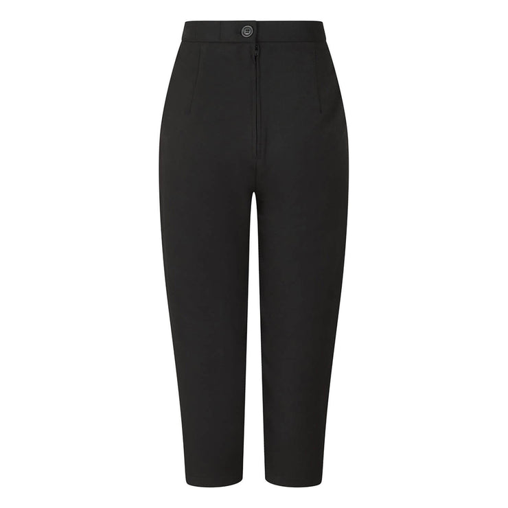 Hell Bunny Amelie Cigarette Trousers - Black on invisible mannequin - back