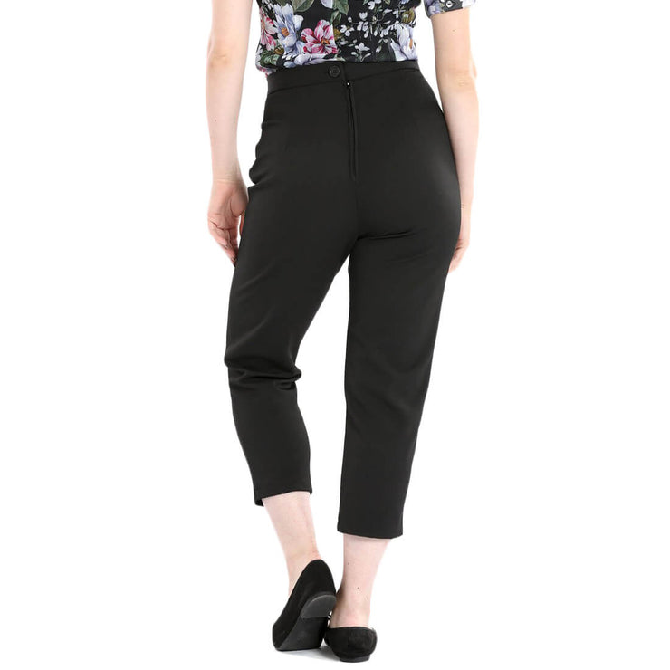 Hell Bunny Amelie 50s Retro Cigarette Trousers - Black model back