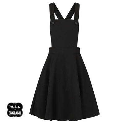 Hell Bunny Amelie Pinafore Dress - Black on invisible mannequin front
