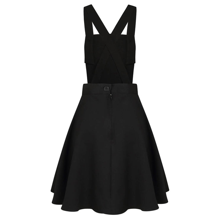 Hell Bunny Amelie Pinafore Dress - Black on invisible mannequin back