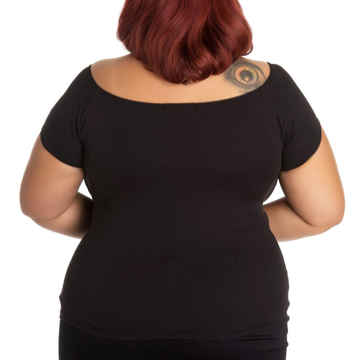 Image of plus model wearing Hell Bunny Bardot Top - Black (back)
