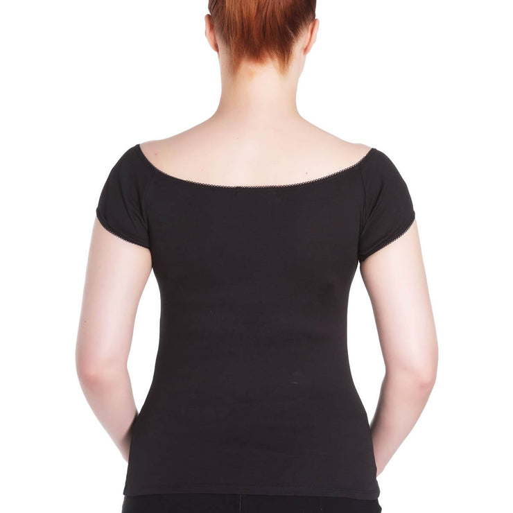 Image of standard model wearing Hell Bunny Bardot Top - Black (back)