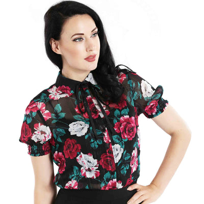 Hell Bunny Bed Of Roses Floral Top front