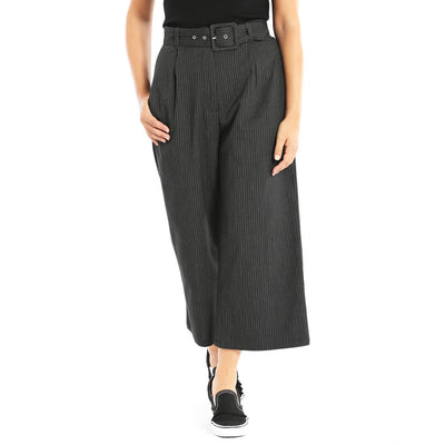 Hell Bunny Benny Pinstripe Culottes - Black/Grey - front