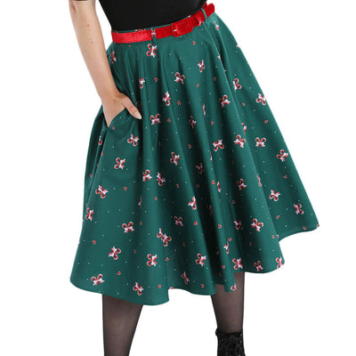 Hell Bunny Beth Candy Canes Xmas Skirt - front cropped