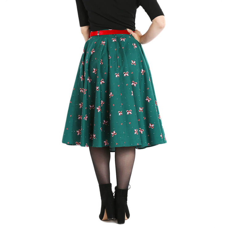 Hell Bunny Beth Candy Canes Xmas Skirt - back
